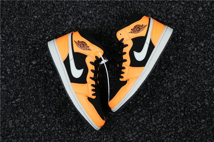 Wholesale Cheap Nike Air Jordan 1 Mid Black Cone Light Bone Orange 554724-062