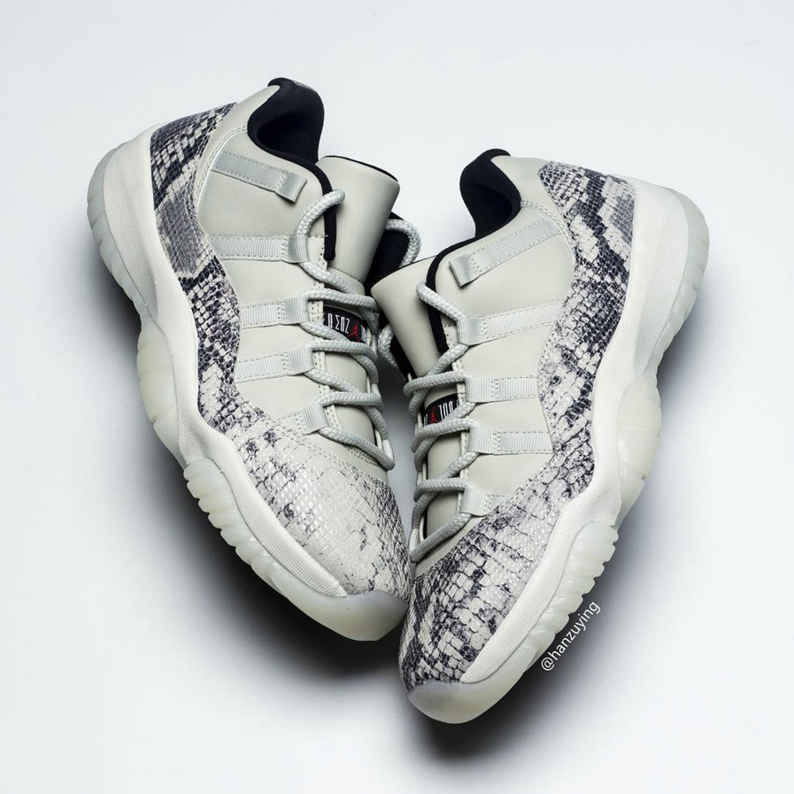Wholesale Cheap Nike Air Jordan 11 Low SE Snakeskin Light Bone University Red-Sail-Black CD6846-002