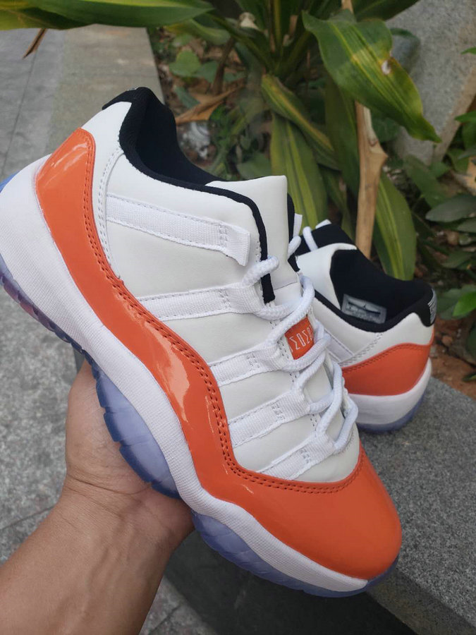 Wholesale Cheap Nike Air Jordan 11 Low White Black-Orange Trance AH7860-106