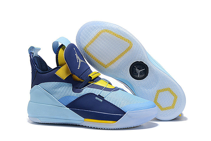 Wholesale Cheap Nike Air Jordan 33 Mint Green Navy Blue-Yellow For Sale