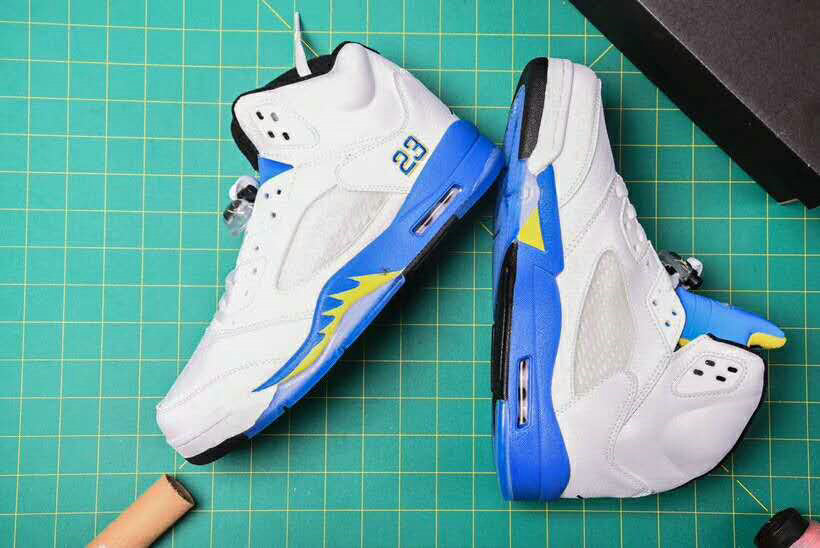 detailed look 4351c 2c5f4 Wholesale Cheap Nike Air Jordan 5 Retro Laney Basketball Shoes White Blue  Yellow