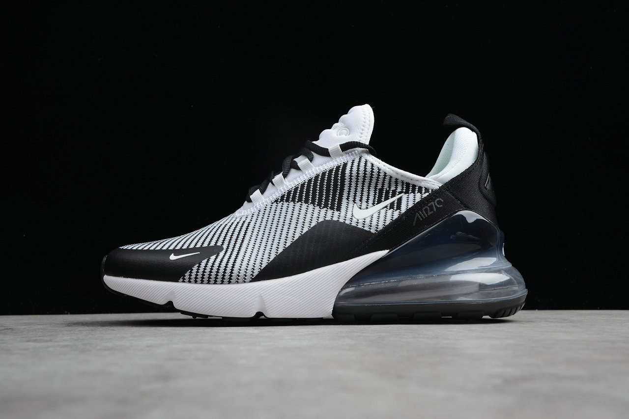 Wholesale Cheap Nike Air Max 270 Flyknit White Black Grey Running Shoes