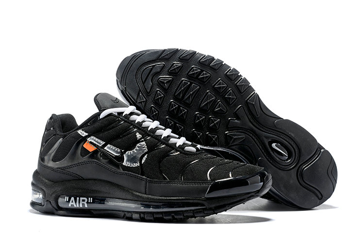 Wholesale Cheap Nike Air Max 97 OFF-WHITE Running Shoes Silver Black White
