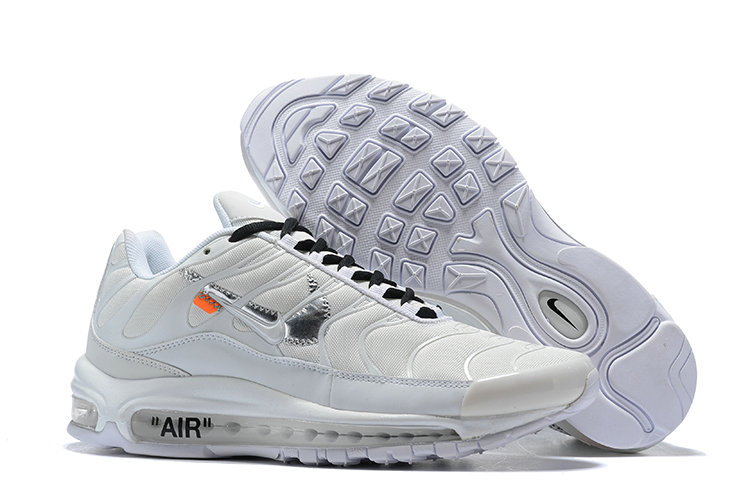 Wholesale Cheap Nike Air Max 97 OFF-WHITE Running Shoes Silver White