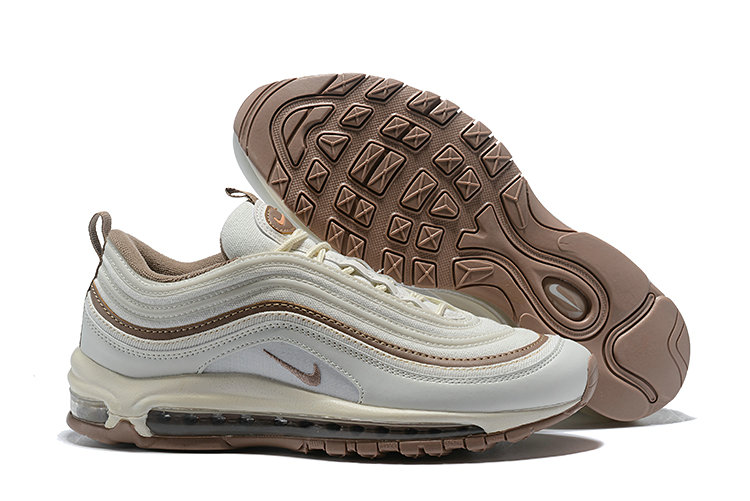 Wholesale Cheap Nike Air Max 97 Running Shoes White Deep Gold