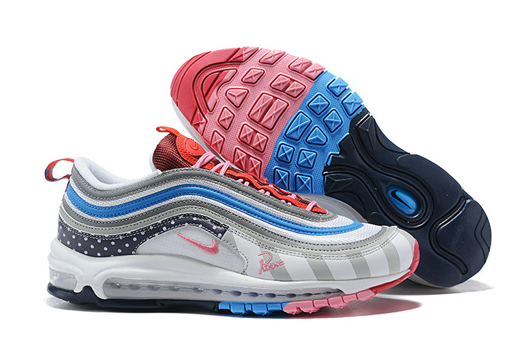 Wholesale Cheap Nike Air Max 97 Running Shoes White Grey Blue Pink