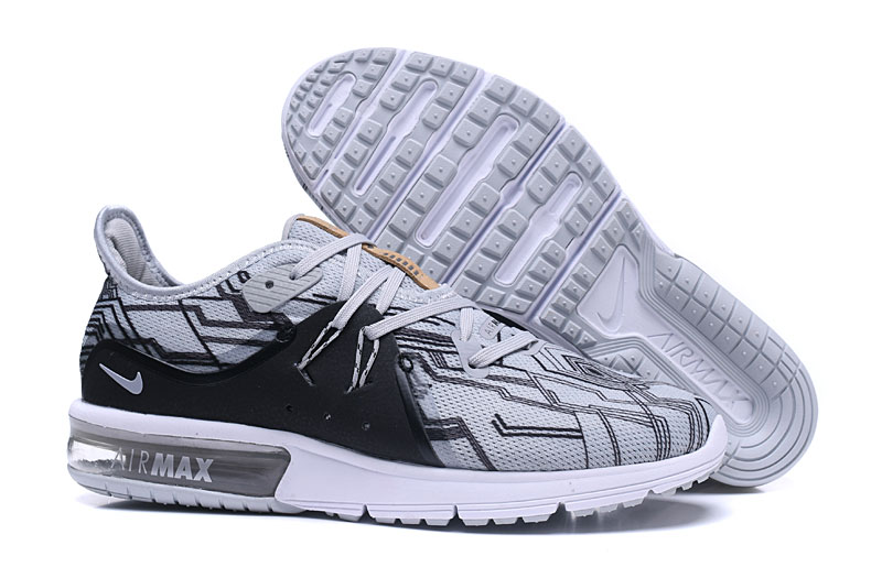 Cheap Wholesale Nike Air Max Sequent Black Grey White Running Shoes