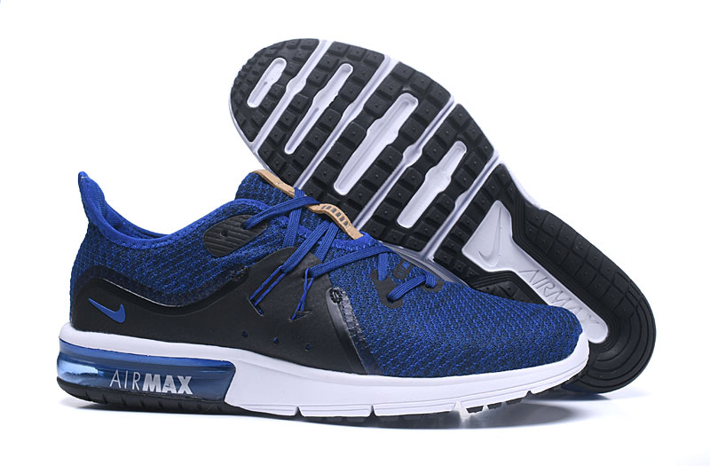 Cheap Wholesale Nike Air Max Sequent Blue Black White Running Shoes