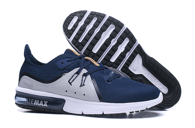 Cheap Wholesale Nike Air Max Sequent Grey Blue White Black Running Shoes