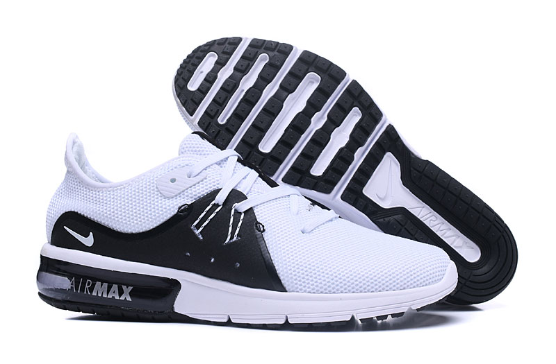 Cheap Wholesale Nike Air Max Sequent White Black Running Shoes