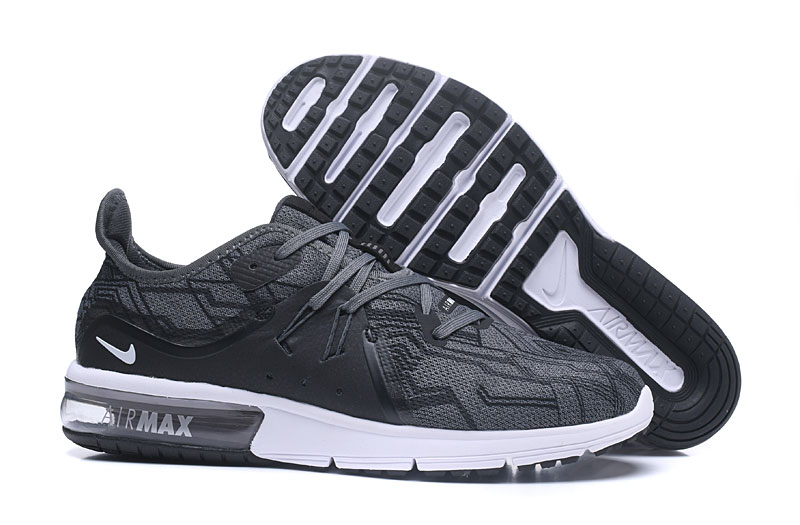 Cheap Wholesale Nike Air Max Sequent Wolf Grey Black White Running Shoes
