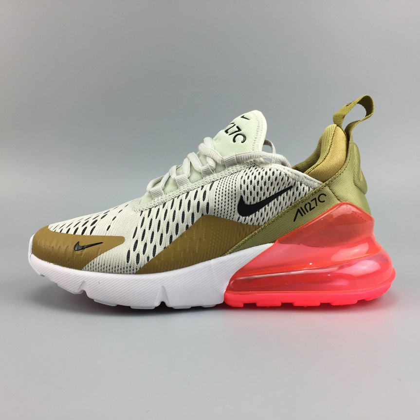 1830c678c6 Wholesale Cheap Nike Air Maxs 270 Womens FLT Gold Black-Light Bone Or Mat OS