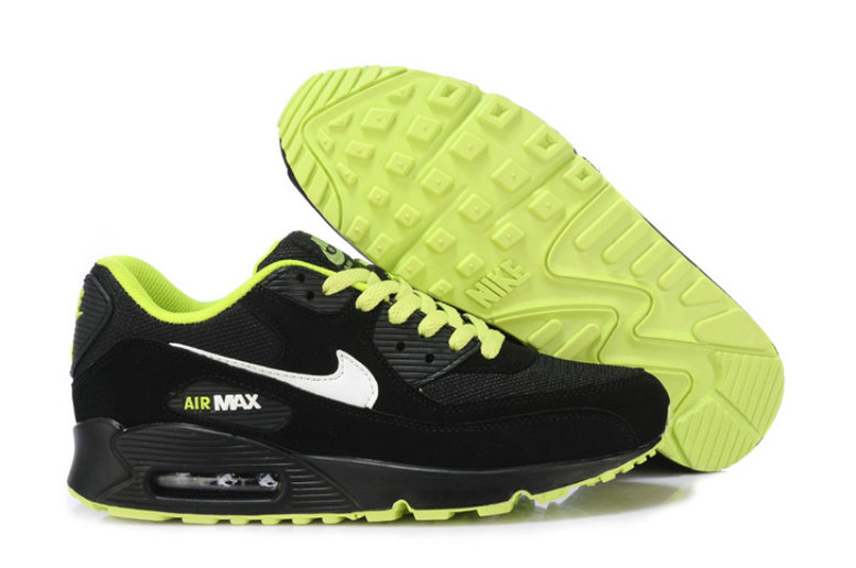 Cheap Wholesale Nike Air Maxs 90 Men Black White Green
