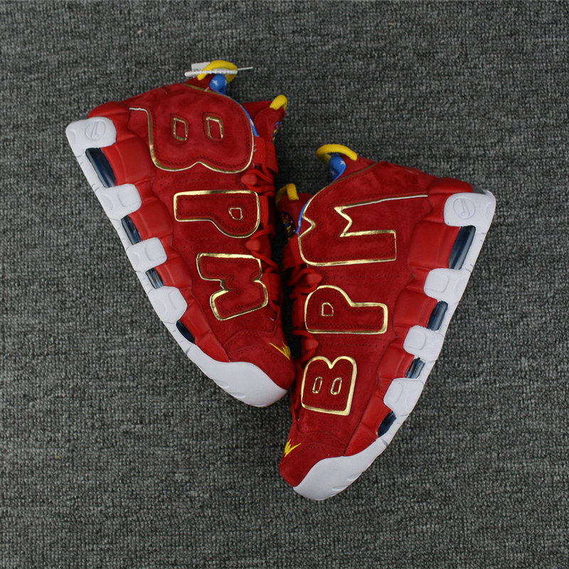Cheap Wholesale Nike Air More Uptempo Colorway Gold Red White Blue