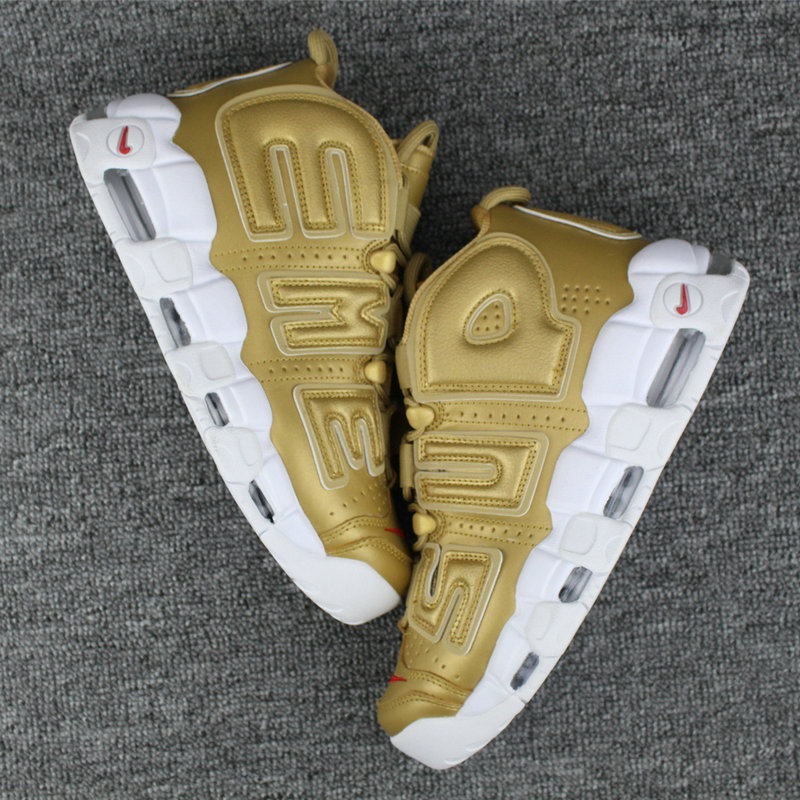 Cheap Wholesale Nike Air More Uptempo Supreme White Red Gold