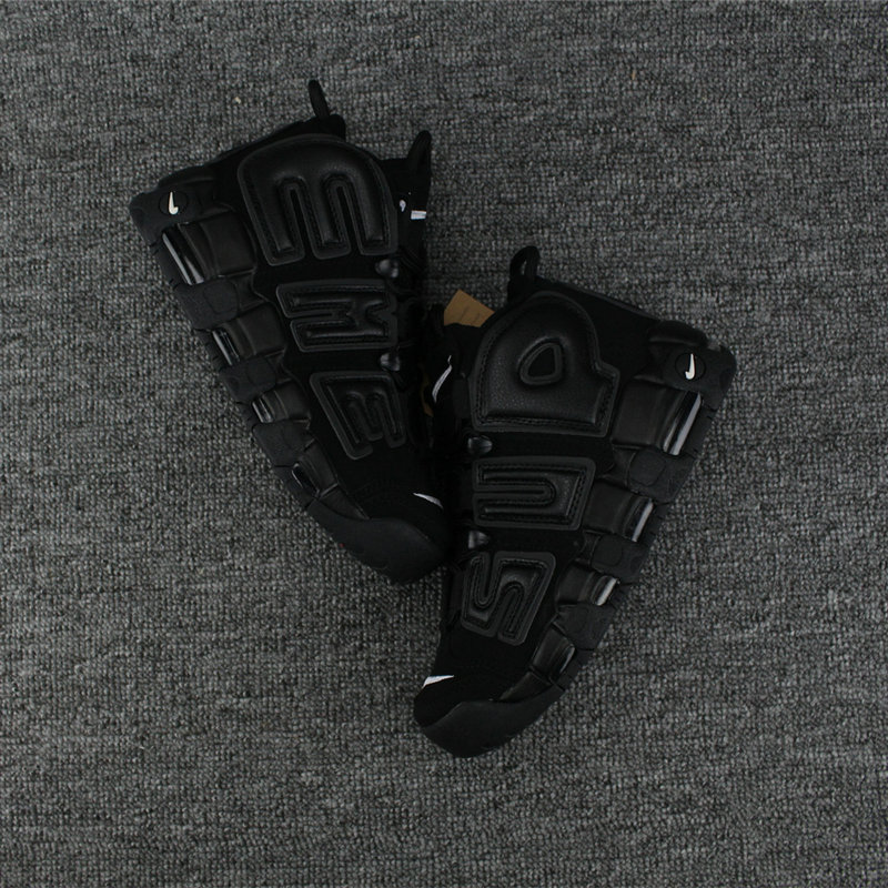 Cheap Wholesale Nike Air More Uptempo x Supreme Total Black
