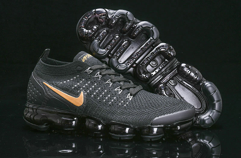 Wholesale Cheap Nike Air Vapormax Flyknit 2018 V2 Black Gold 942842-203