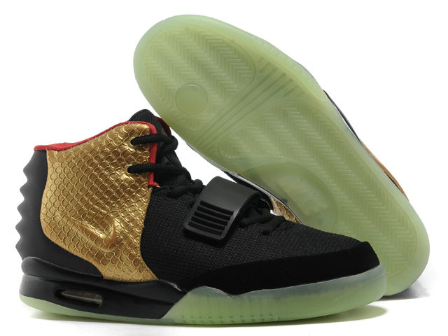 Cheap Wholesale Nike Air Yeezy 2 Gold Black Red