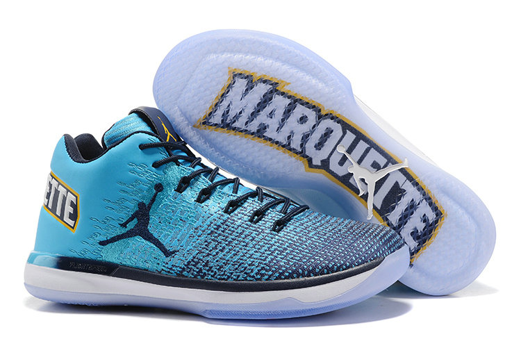 Cheap Wholesale Nike AirJordan 31 Low Blue White Yellow