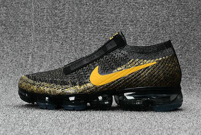Cheap Wholesale Nike Flyknit Air VaporMax Gold Black Yellow Sneakers