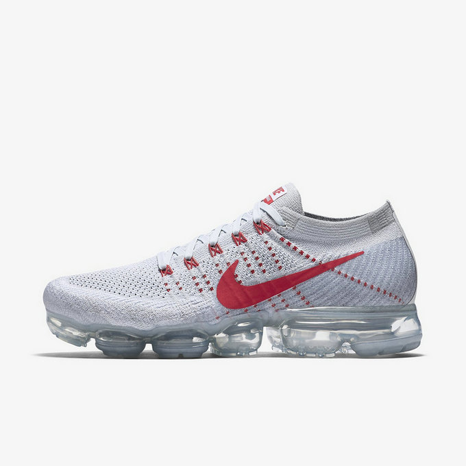 Cheap Wholesale Nike Flyknit Air VaporMax Mens Red Grey Running Shoes