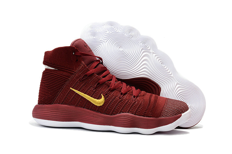 Cheap Wholesale Nike Hyperdunk Flyknit 2017 Womens Deep Red Gold White