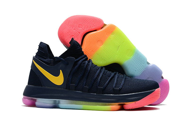 Cheap Wholesale Nike KD 10 Kids Navy Blue Colorful