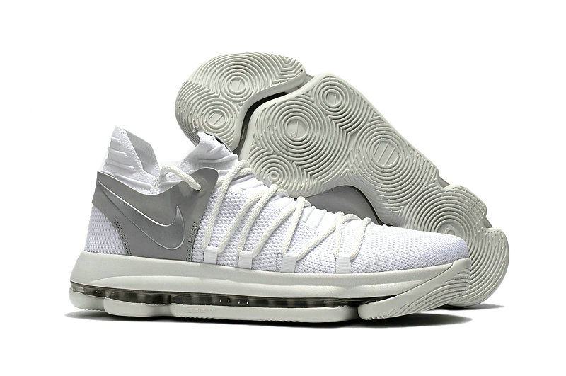 Cheap Wholesale Nike KD 10 Kids White Silver