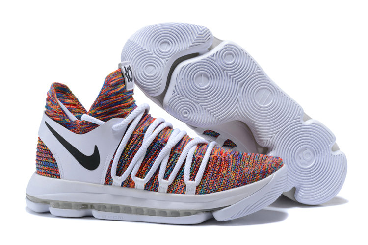 Cheap Wholesale Nike KD 10 Nike Kevin Durant 10 White Black Multi-Color