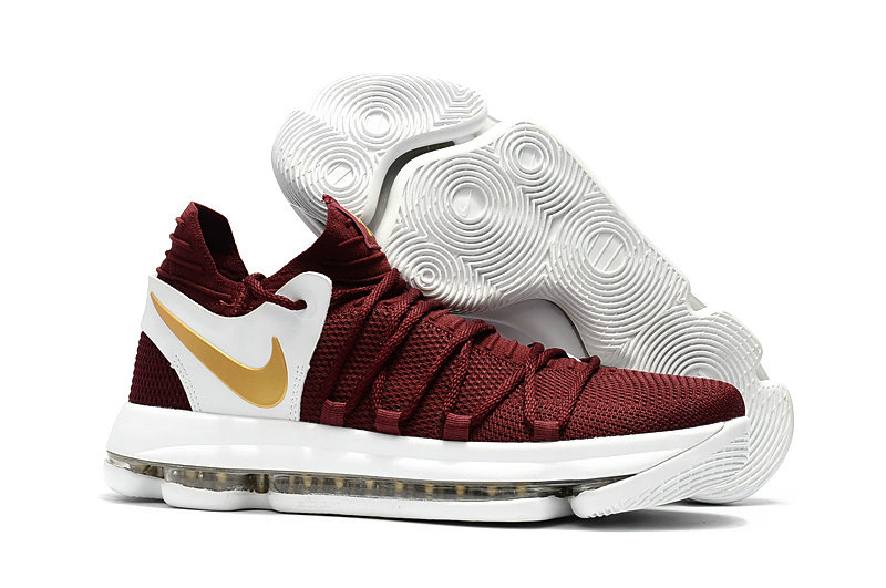 Cheap Wholesale Nike KD 10 Womens Wine Red Gold White