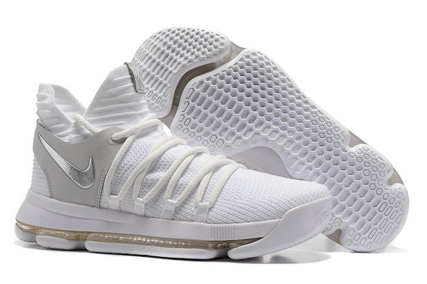 Cheap Wholesale Nike Kevin Durant 10 White Silver Grey