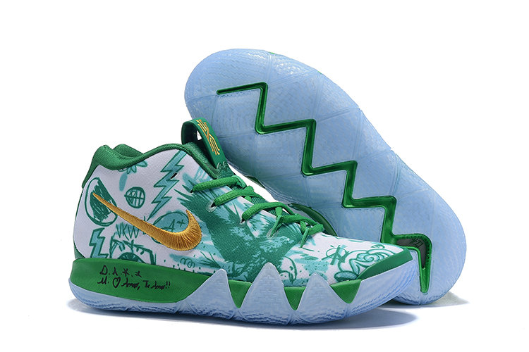 cc81cba9d833 Wholesale Cheap Nike Kyrie 4 Boston Celtics Green White Gold