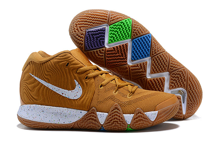 Wholesale Cheap Nike Kyrie 4 Cinnamon Toast Crunch Metallic Gold Coin White For Sale
