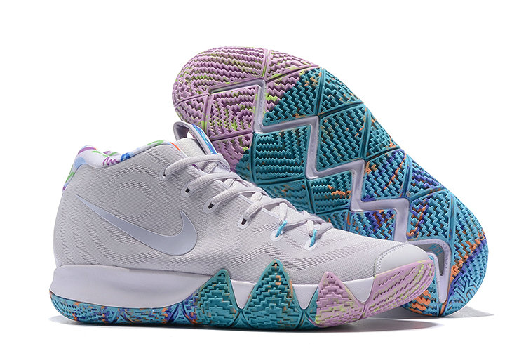 Wholesale Cheap Nike Kyrie 4 Irving Basketball Shoes Bright Grey Pure Purple Jade