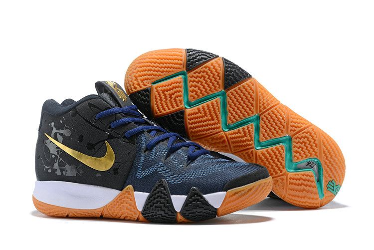Wholesale Cheap Nike Kyrie 4 Irving Basketball Shoes Gold Black Navy Blue White