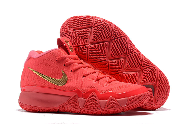 Wholesale Cheap Nike Kyrie 4 Irving Basketball Shoes University Red Gold