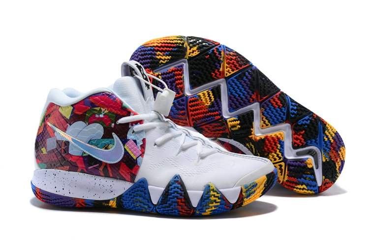 Wholesale Cheap Nike Kyrie 4 Irving Basketball Shoes White Flower