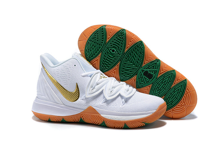 Wholesale Cheap Nike Kyrie 5 Gets A Lucky Irish Colorway White Metallic Gold-Pure Platinum AQ2456-170