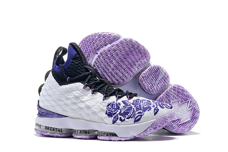 5d15507eb46 Wholesale Cheap Nike Lebron James 15 Basketball Shoes White Purple ...