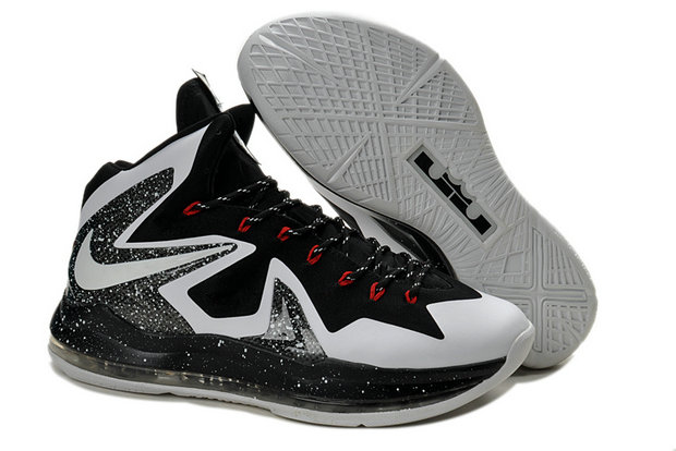 Cheap Wholesale Nike Lebron 10 PS Elite Black White Grey