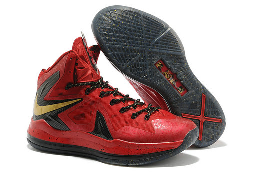 Cheap Wholesale Nike Lebron 10 PS Elite Gold Black Red Shoes