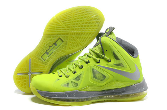 Cheap Wholesale Nike Lebron 10 Shoes Fluorescent Green Grey