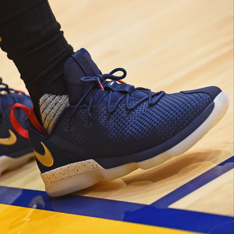 04883027566 Cheap Wholesale Nike Lebron 14 Low Olympic Navy Blue Gold Mens Sneakers