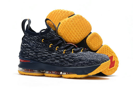 Cheap Wholesale Nike Lebron 15 Navy Blue Grey Yellow Red