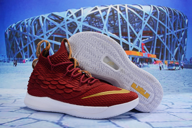 f0c7588c3f5a Cheap Wholesale Nike Lebron James 15 2019 New Release Deep Red Gold White