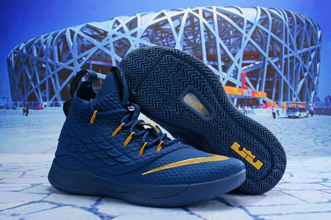 990114097c6f Cheap Wholesale Nike Lebron James 15 2019 New Release Navy Blue Gold