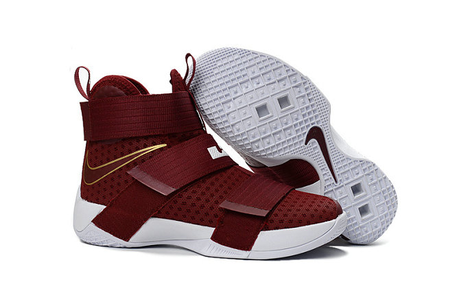 Cheap Wholesale Nike Lebron Soldier 10 X Gold Wine Red White