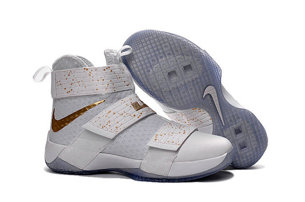 Cheap Wholesale Nike Lebron Soldier 10 X White Yellow Gold
