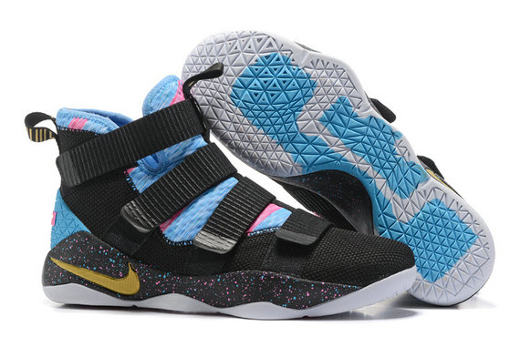 Cheap Wholesale Nike Lebron Soldier 11 Blue Pink Black Gold White