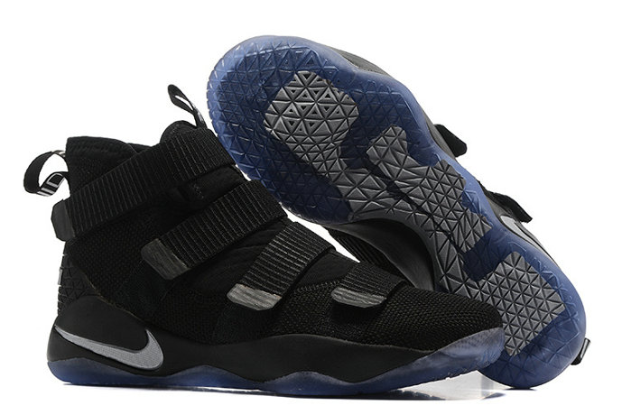 Cheap Wholesale Nike Lebron Soldier 11 PE Black Blue Silver Grey